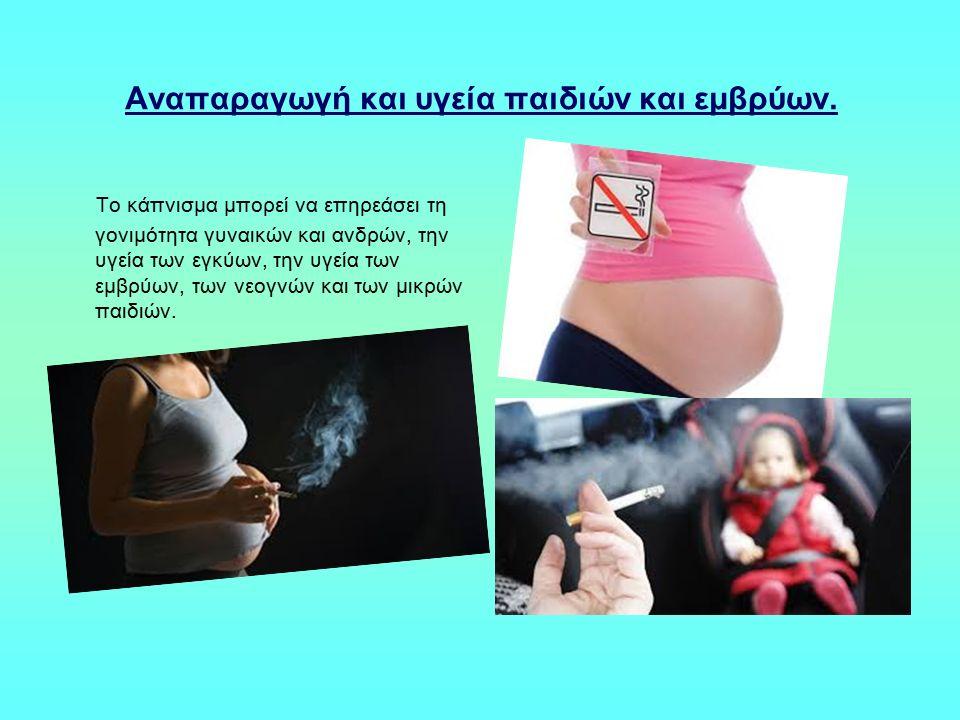 Αναπαραγωγή και υγεία παιδιών και εμβρύων. To κάπνισμα μπορεί να επηρεάσει τη γονιμότητα γυναικών και ανδρών, την υγεία των εγκύων, την υγεία των εμβρ