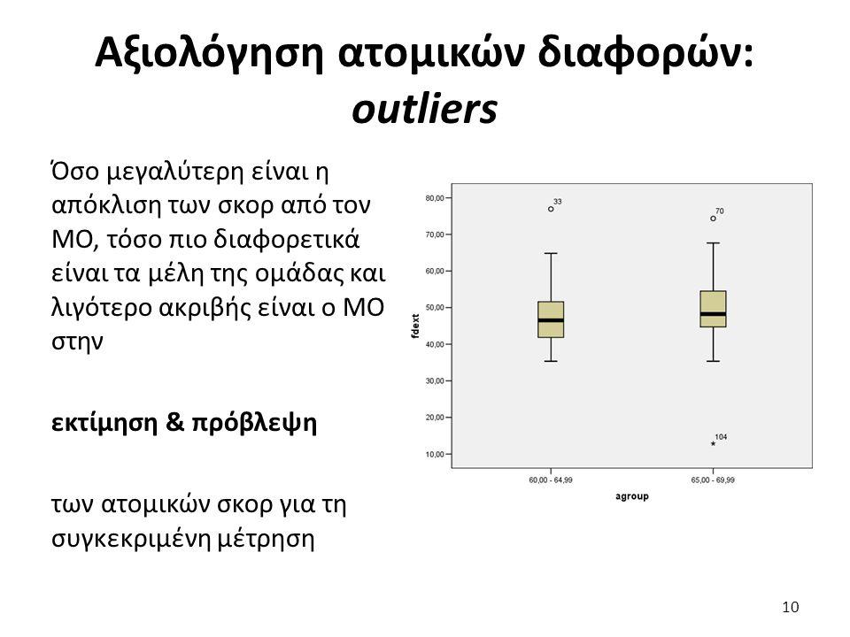 Αξιολόγηση ατομικών διαφορών: outliers Όσο μεγαλύτερη είναι η απόκλιση των σκορ από τον ΜΟ, τόσο πιο διαφορετικά είναι τα μέλη της ομάδας και λιγότερο ακριβής είναι ο ΜΟ στην εκτίμηση & πρόβλεψη των ατομικών σκορ για τη συγκεκριμένη μέτρηση 10
