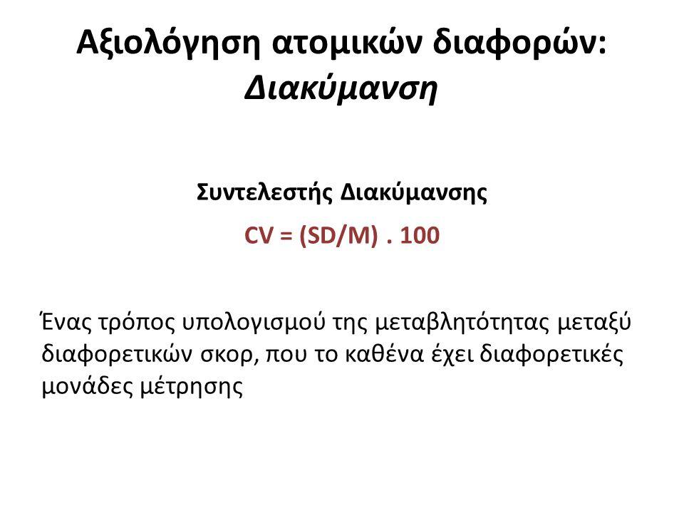 Αξιολόγηση ατομικών διαφορών: Διακύμανση Συντελεστής Διακύμανσης CV = (SD/M).