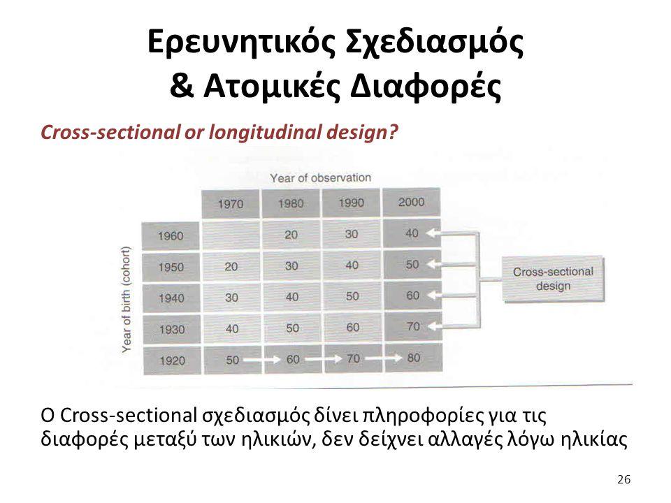 Ερευνητικός Σχεδιασμός & Ατομικές Διαφορές Cross-sectional or longitudinal design.