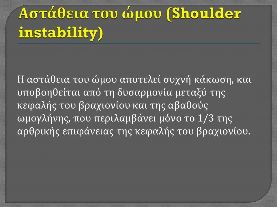 Η αστάθεια του ώμου χαρακτηρίζεται από επαναλαμβανόμενη παρεκτόπιση της κεφαλής του βραχιονίου ως προς την ωμογληνή, προς τα εμπρός, πίσω, κάτω ή προς όλες τις κατευθύνσεις.