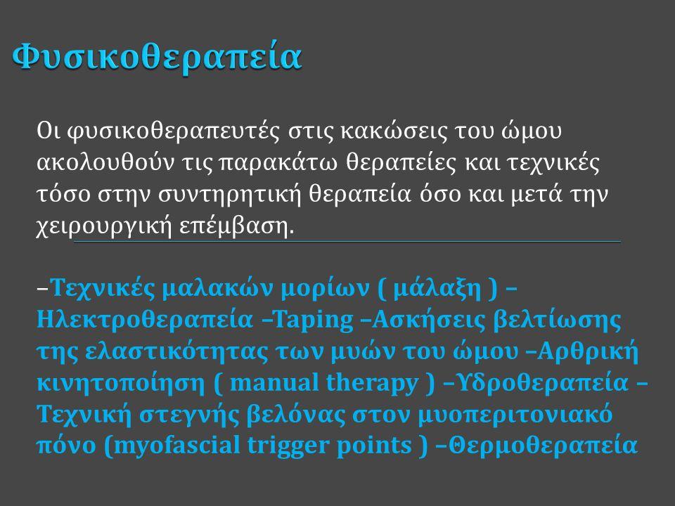 Αρθροσκοπική Υπακρωμιακή Αποσυμπίεση Αρθροσκοπική Συρραφή του Στροφικού Πετάλου του ώμου