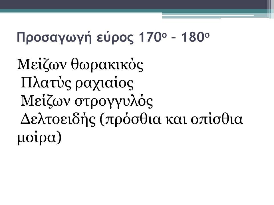 Προσαγωγή εύρος 170 ο – 180 ο Μείζων θωρακικός Πλατύς ραχιαίος Μείζων στρογγυλός Δελτοειδής (πρόσθια και οπίσθια μοίρα)