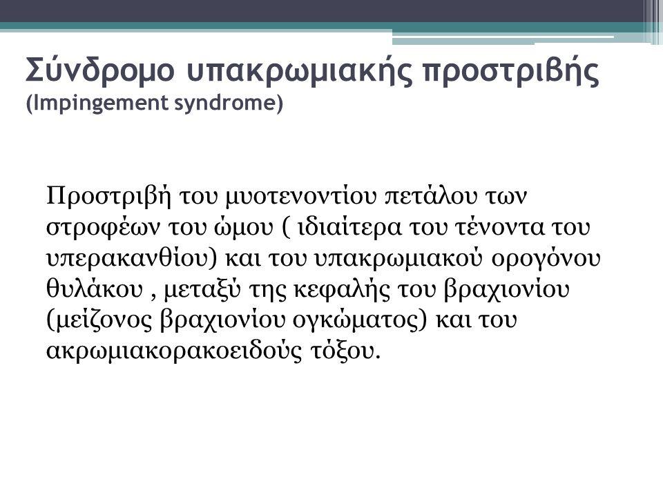 Σύνδρομο υπακρωμιακής προστριβής (Impingement syndrome) Προστριβή του μυοτενοντίου πετάλου των στροφέων του ώμου ( ιδιαίτερα του τένοντα του υπερακανθ