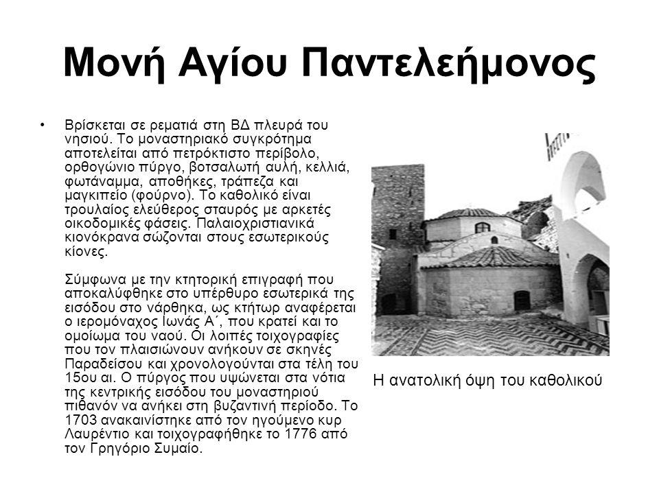 Μονή Αγίου Παντελεήμονος Βρίσκεται σε ρεματιά στη ΒΔ πλευρά του νησιού. Το μοναστηριακό συγκρότημα αποτελείται από πετρόκτιστο περίβολο, ορθογώνιο πύρ