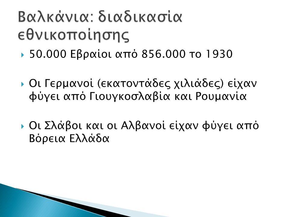  50.000 Εβραίοι από 856.000 το 1930  Οι Γερμανοί (εκατοντάδες χιλιάδες) είχαν φύγει από Γιουγκοσλαβία και Ρουμανία  Οι Σλάβοι και οι Αλβανοί είχαν φύγει από Βόρεια Ελλάδα