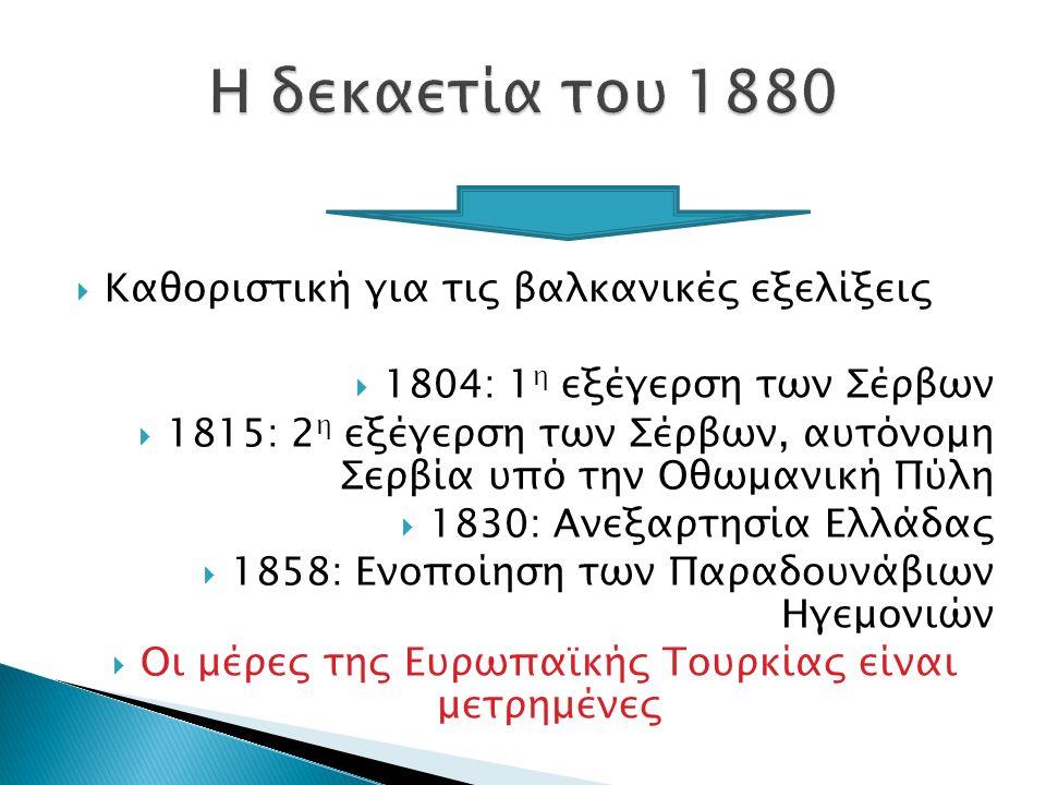  Ο πολιτικός χάρτης των Βαλκανίων διαμορφώθηκε σταδιακά στη διάρκεια του 19 ου αιώνα ακολουθώντας τις διαδικασίες της εθνικοποίησης των ορθόδοξων χριστιανικών πληθυσμών  Επήρεια των ιδεών της γαλλικής επανάστασης αλλά και της πολιτικής των ΜΔ  Αυστροουγγαρία, Ρωσία, Οθωμανική Αυτοκρατορία