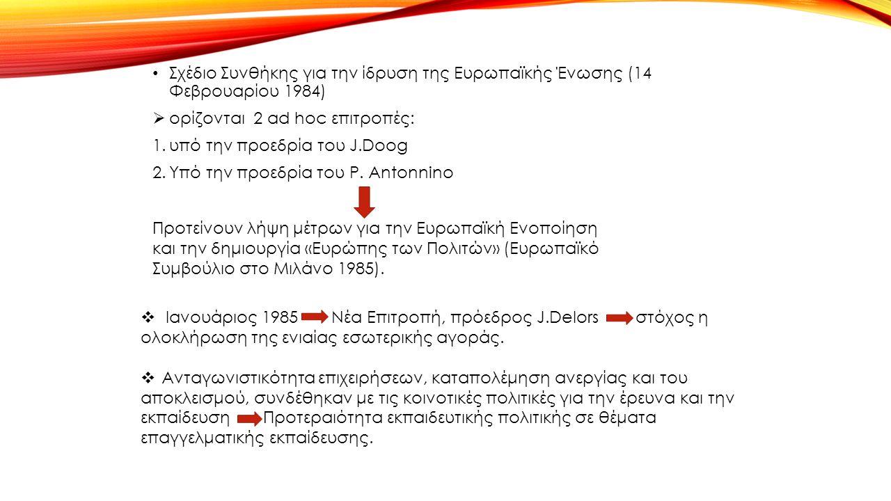 Σχέδιο Συνθήκης για την ίδρυση της Ευρωπαϊκής Ένωσης (14 Φεβρουαρίου 1984)  ορίζονται 2 ad hoc επιτροπές: 1.υπό την προεδρία του J.Doog 2.Υπό την προεδρία του P.