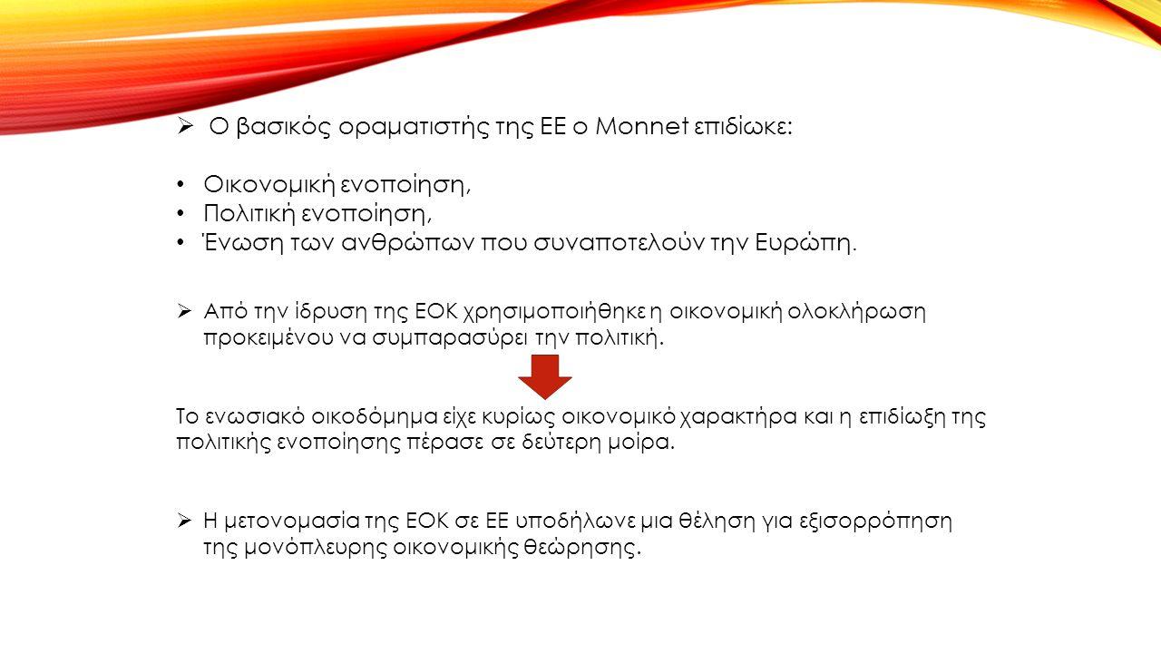  Ο βασικός οραματιστής της ΕΕ ο Monnet επιδίωκε: Οικονομική ενοποίηση, Πολιτική ενοποίηση, Ένωση των ανθρώπων που συναποτελούν την Ευρώπη.