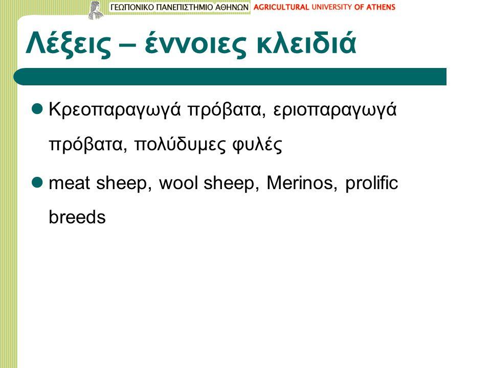 Λέξεις – έννοιες κλειδιά Kρεοπαραγωγά πρόβατα, εριοπαραγωγά πρόβατα, πολύδυμες φυλές meat sheep, wool sheep, Merinos, prolific breeds