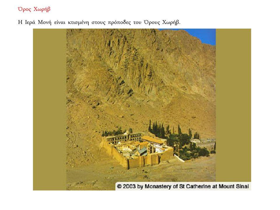 Όρος Χωρήβ Η Ιερά Μονή είναι κτισμένη στους πρόποδες του Όρους Χωρήβ.