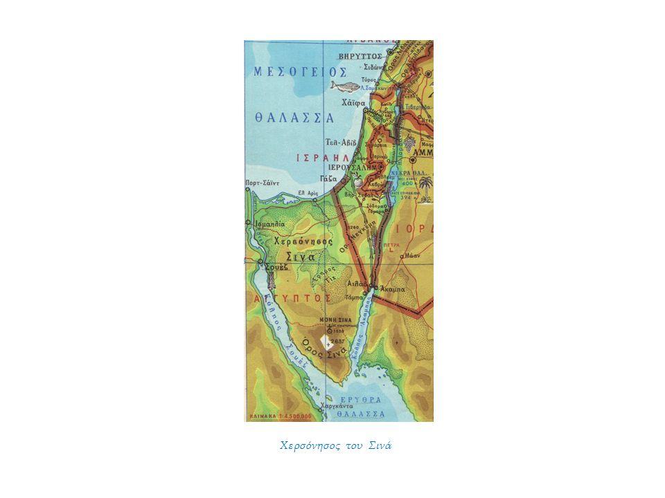 ΕΙΣΑΓΩΓΗ Το Σινά είναι σημείο συνάντησης 2 ηπείρων, της Αφρικής και της Ασίας και διαχωριστική γραμμή 2 θαλασσών, της Μεσογείου και της Ερυθράς Θάλασσας.
