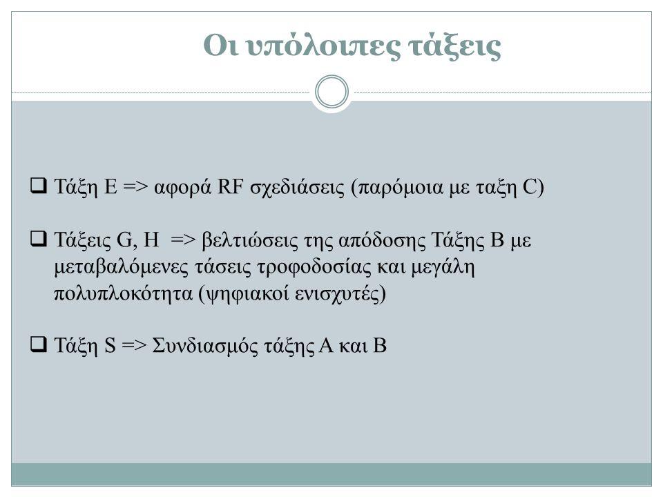  Τάξη E => αφορά RF σχεδιάσεις (παρόμοια με ταξη C)  Τάξεις G, H => βελτιώσεις της απόδοσης Τάξης Β με μεταβαλόμενες τάσεις τροφοδοσίας και μεγάλη πολυπλοκότητα (ψηφιακοί ενισχυτές)  Τάξη S => Συνδιασμός τάξης Α και Β Οι υπόλοιπες τάξεις