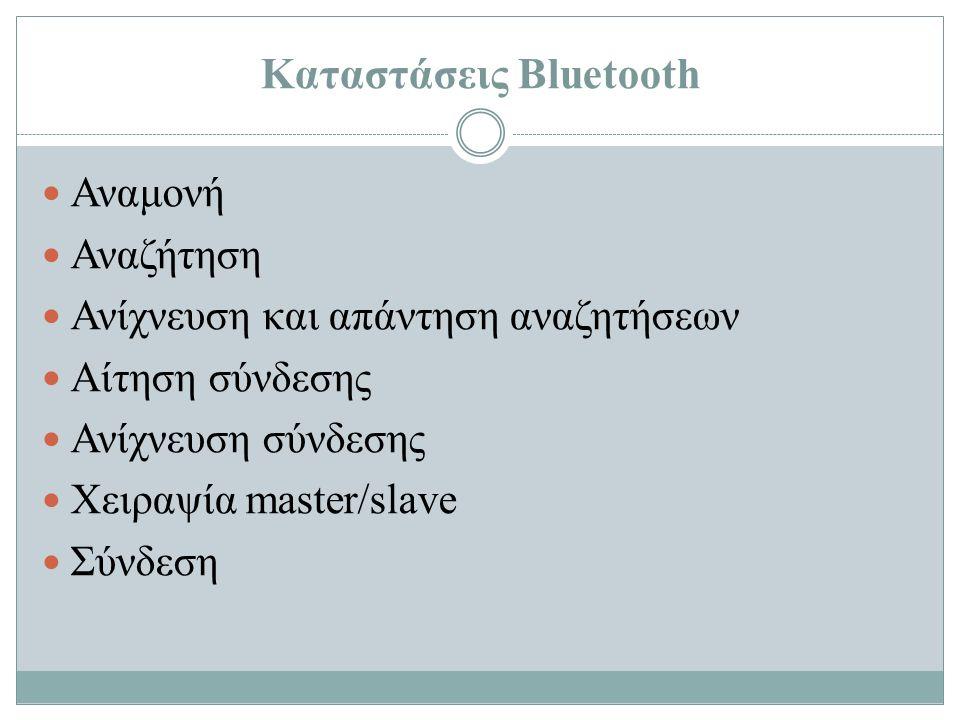 Καταστάσεις Bluetooth Αναμονή Αναζήτηση Ανίχνευση και απάντηση αναζητήσεων Αίτηση σύνδεσης Ανίχνευση σύνδεσης Χειραψία master/slave Σύνδεση