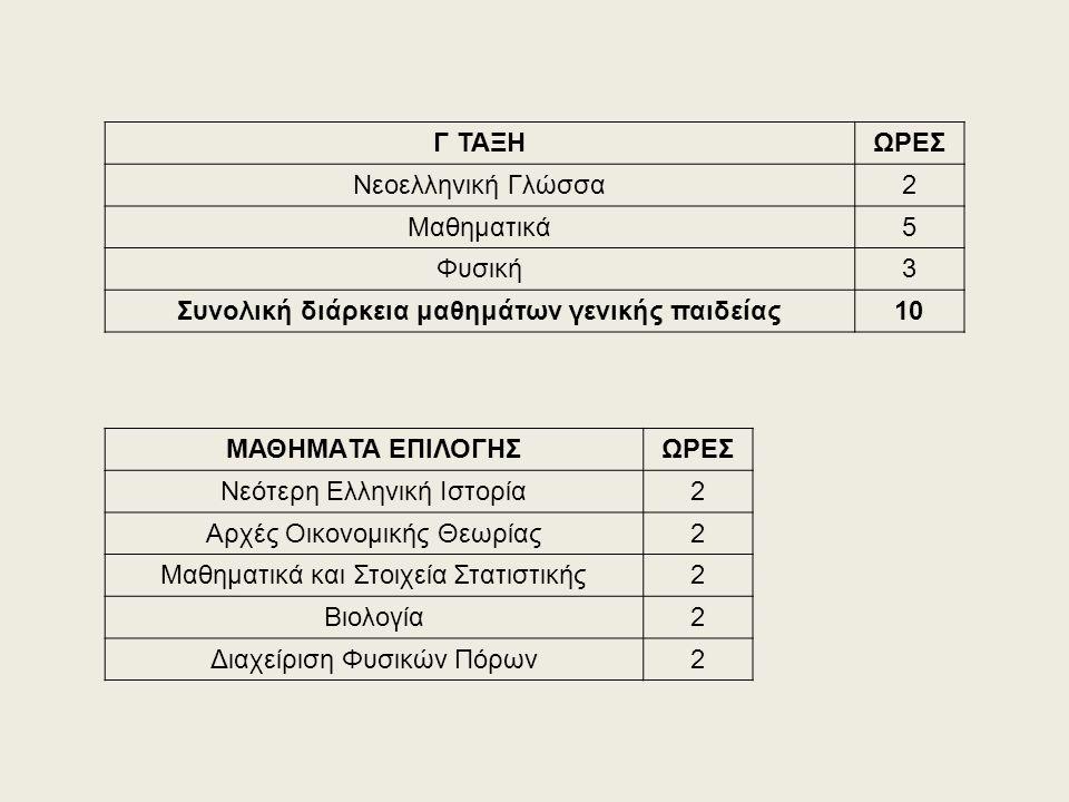 Γ ΤΑΞΗΩΡΕΣ Νεοελληνική Γλώσσα2 Μαθηματικά5 Φυσική3 Συνολική διάρκεια μαθημάτων γενικής παιδείας10 ΜΑΘΗΜΑTA ΕΠΙΛΟΓΗΣΩΡΕΣ Νεότερη Ελληνική Ιστορία2 Αρχέ