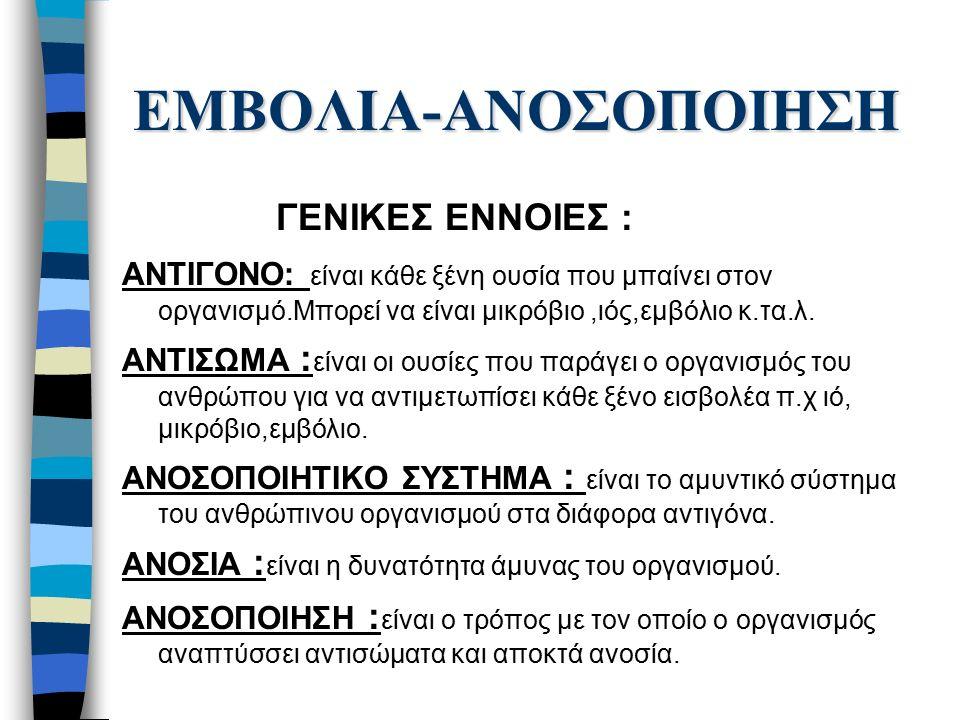 ΕΜΒΟΛΙΑ-ΑΝΟΣΟΠΟΙΗΣΗ ΓΕΝΙΚΕΣ ΕΝΝΟΙΕΣ : ΑΝΤΙΓΟΝΟ: είναι κάθε ξένη ουσία που μπαίνει στον οργανισμό.Μπορεί να είναι μικρόβιο,ιός,εμβόλιο κ.τα.λ.
