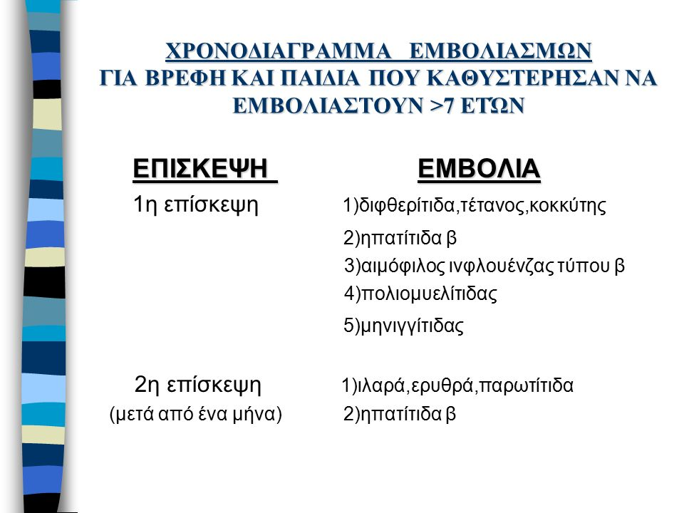 ΧΡΟΝΟΔΙΑΓΡΑΜΜΑ ΕΜΒΟΛΙΑΣΜΩΝ ΓΙΑ ΒΡΕΦΗ ΚΑΙ ΠΑΙΔΙΑ ΠΟΥ ΚΑΘΥΣΤΕΡΗΣΑΝ ΝΑ ΕΜΒΟΛΙΑΣΤΟΥΝ >7 ΕΤΏΝ ΕΠΙΣΚΕΨΗ ΕΜΒΟΛΙΑ 1η επίσκεψη 1)διφθερίτιδα,τέτανος,κοκκύτης 2)ηπατίτιδα β 3)αιμόφιλος ινφλουένζας τύπου β 4)πολιομυελίτιδας 5)μηνιγγίτιδας 2η επίσκεψη 1)ιλαρά,ερυθρά,παρωτίτιδα (μετά από ένα μήνα) 2)ηπατίτιδα β