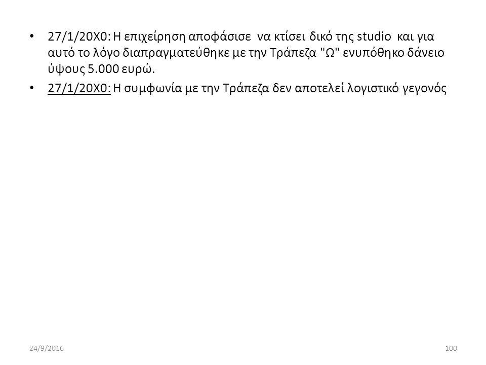 27/1/20Χ0: Η επιχείρηση αποφάσισε να κτίσει δικό της studio και για αυτό το λόγο διαπραγματεύθηκε με την Τράπεζα Ω ενυπόθηκο δάνειο ύψους 5.000 ευρώ.
