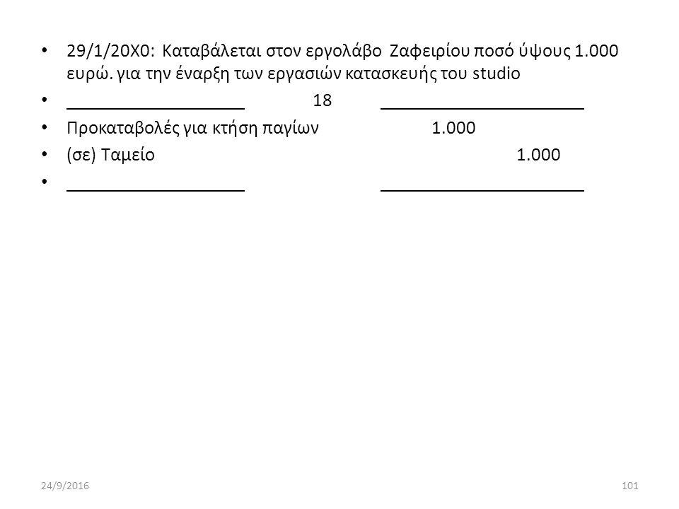 29/1/20Χ0: Καταβάλεται στον εργολάβο Ζαφειρίου ποσό ύψους 1.000 ευρώ.