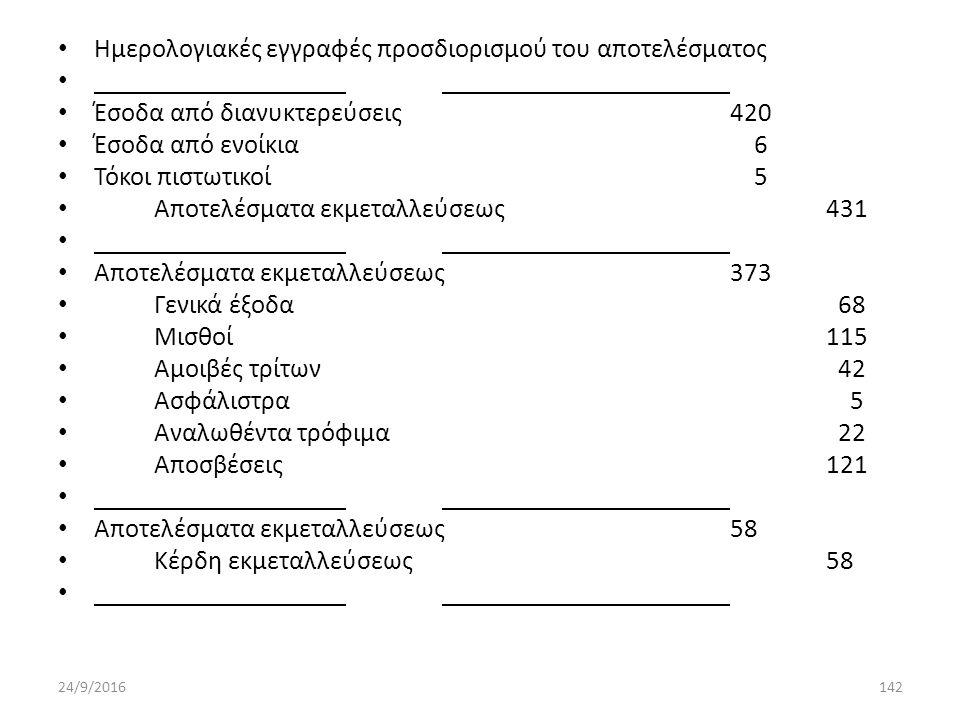 Ημερολογιακές εγγραφές προσδιορισμού του αποτελέσματος Έσοδα από διανυκτερεύσεις420 Έσοδα από ενοίκια 6 Τόκοι πιστωτικοί 5 Αποτελέσματα εκμεταλλεύσεως431 Αποτελέσματα εκμεταλλεύσεως373 Γενικά έξοδα 68 Μισθοί115 Αμοιβές τρίτων 42 Ασφάλιστρα 5 Αναλωθέντα τρόφιμα 22 Αποσβέσεις121 Αποτελέσματα εκμεταλλεύσεως58 Κέρδη εκμεταλλεύσεως58 24/9/2016142