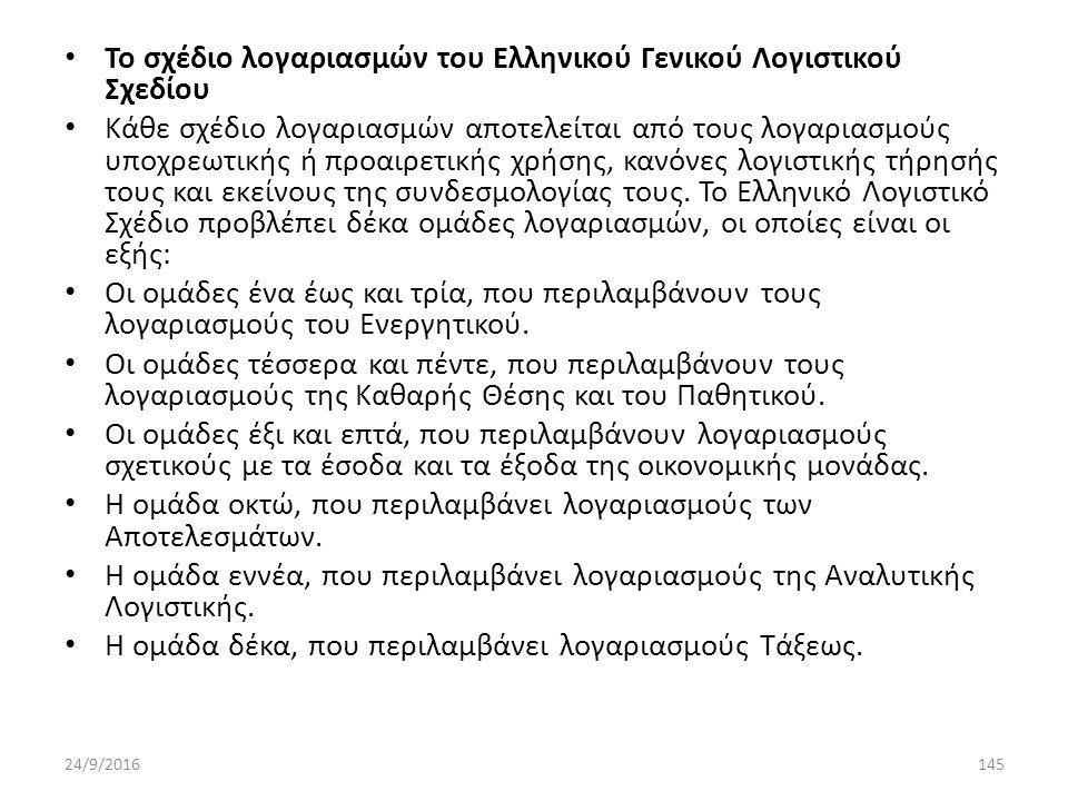 Το σχέδιο λογαριασμών του Ελληνικού Γενικού Λογιστικού Σχεδίου Κάθε σχέδιο λογαριασμών αποτελείται από τους λογαριασμούς υποχρεωτικής ή προαιρετικής χρήσης, κανόνες λογιστικής τήρησής τους και εκείνους της συνδεσμολογίας τους.
