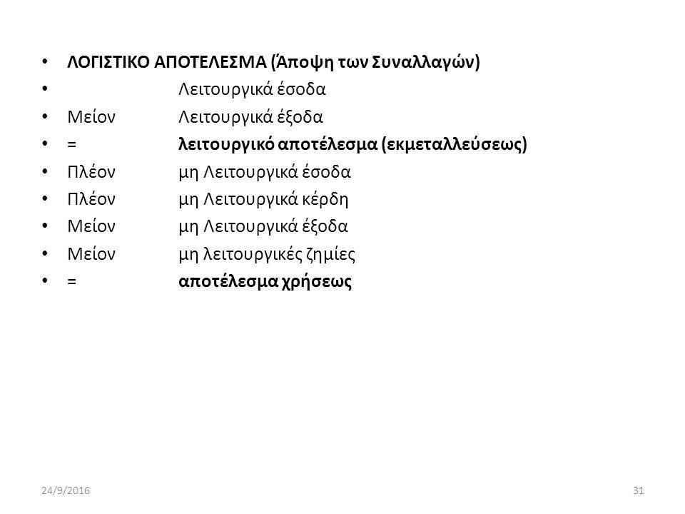 ΛΟΓΙΣΤΙΚΟ ΑΠΟΤΕΛΕΣΜΑ (Άποψη των Συναλλαγών) Λειτουργικά έσοδα ΜείονΛειτουργικά έξοδα =λειτουργικό αποτέλεσμα (εκμεταλλεύσεως) Πλέονμη Λειτουργικά έσοδα Πλέονμη Λειτουργικά κέρδη Μείονμη Λειτουργικά έξοδα Μείονμη λειτουργικές ζημίες =αποτέλεσμα χρήσεως 24/9/201631
