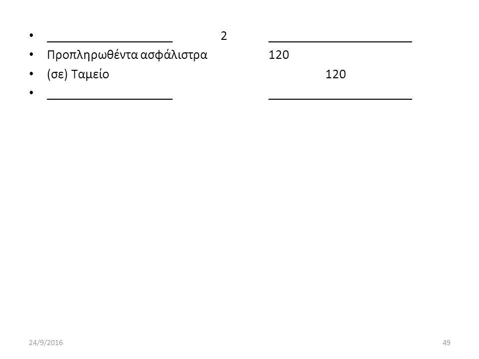2 Προπληρωθέντα ασφάλιστρα120 (σε) Ταμείο 120 24/9/201649