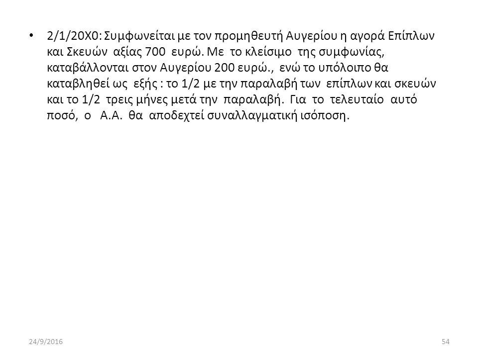 2/1/20Χ0: Συμφωνείται με τον προμηθευτή Αυγερίου η αγορά Επίπλων και Σκευών αξίας 700 ευρώ.