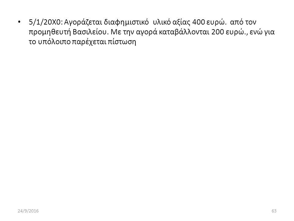 5/1/20Χ0: Αγοράζεται διαφημιστικό υλικό αξίας 400 ευρώ.