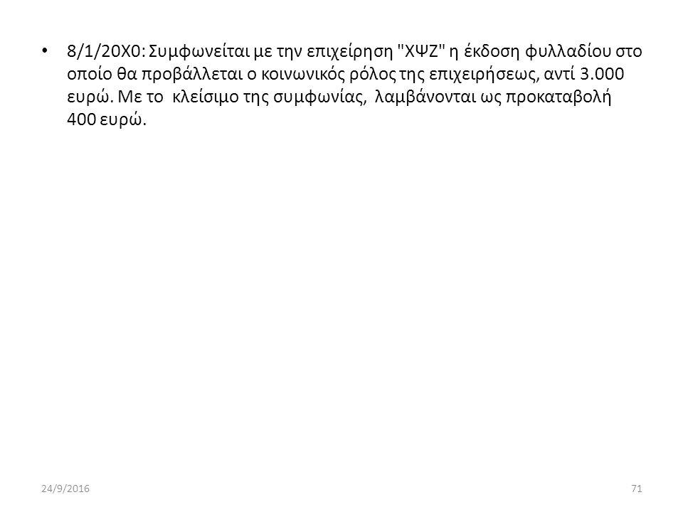8/1/20Χ0: Συμφωνείται με την επιχείρηση ΧΨΖ η έκδοση φυλλαδίου στο οποίο θα προβάλλεται ο κοινωνικός ρόλος της επιχειρήσεως, αντί 3.000 ευρώ.