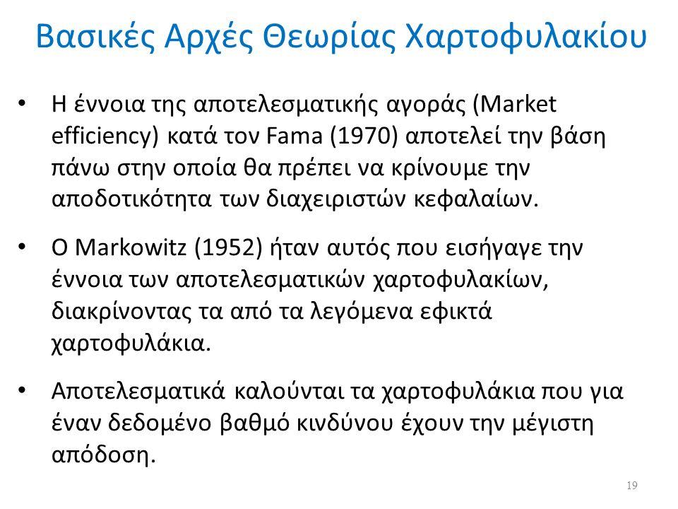 Η έννοια της αποτελεσματικής αγοράς (Market efficiency) κατά τον Fama (1970) αποτελεί την βάση πάνω στην οποία θα πρέπει να κρίνουμε την αποδοτικότητα των διαχειριστών κεφαλαίων.