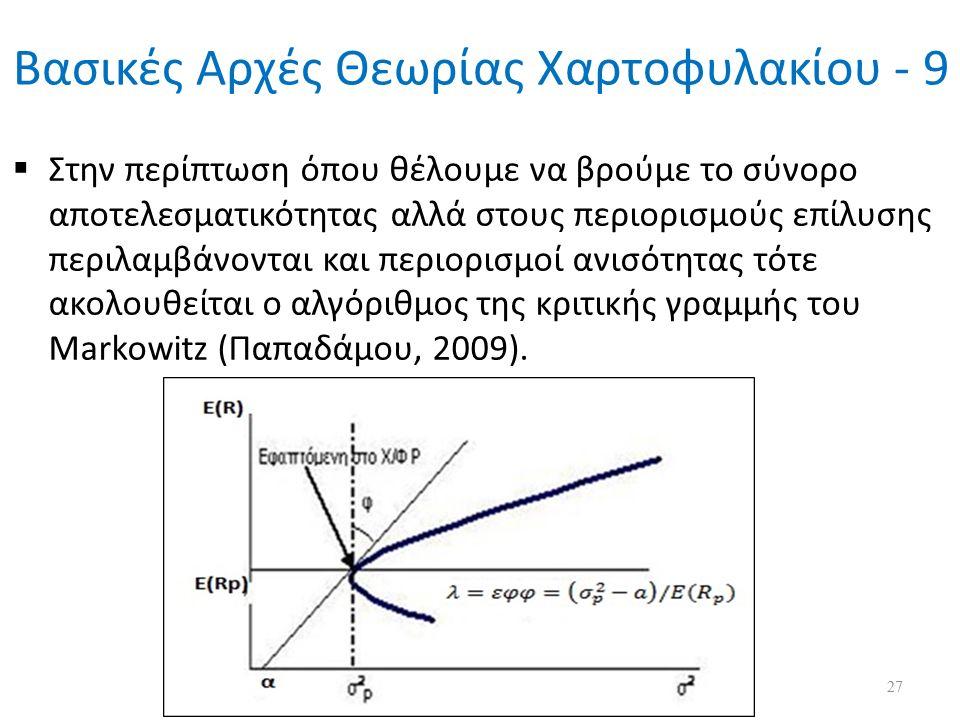 Βασικές Αρχές Θεωρίας Χαρτοφυλακίου - 9  Στην περίπτωση όπου θέλουμε να βρούμε το σύνορο αποτελεσματικότητας αλλά στους περιορισμούς επίλυσης περιλαμβάνονται και περιορισμοί ανισότητας τότε ακολουθείται ο αλγόριθμος της κριτικής γραμμής του Markowitz (Παπαδάμου, 2009).