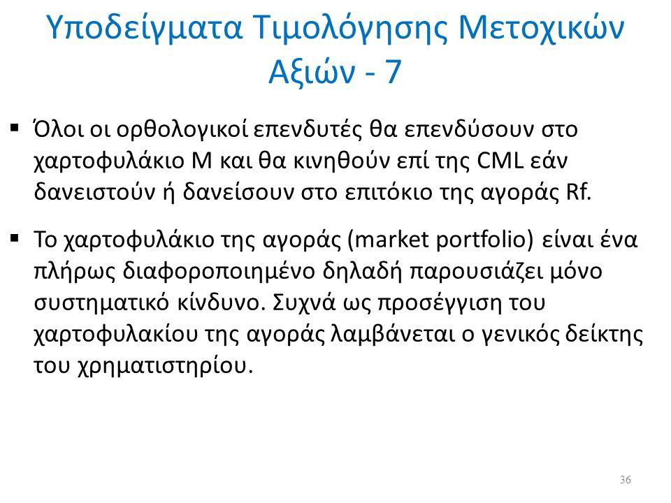 Υποδείγματα Τιμολόγησης Μετοχικών Αξιών - 7  Όλοι οι ορθολογικοί επενδυτές θα επενδύσουν στο χαρτοφυλάκιο Μ και θα κινηθούν επί της CML εάν δανειστούν ή δανείσουν στο επιτόκιο της αγοράς Rf.