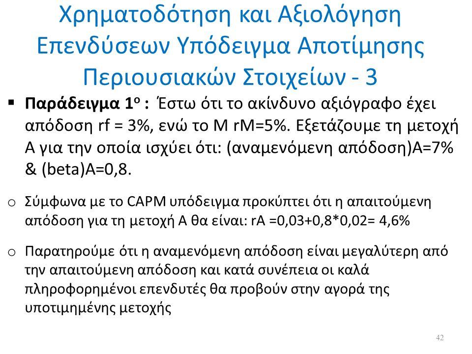 Χρηματοδότηση και Αξιολόγηση Επενδύσεων Υπόδειγμα Αποτίμησης Περιουσιακών Στοιχείων - 3  Παράδειγμα 1 ο : Έστω ότι το ακίνδυνο αξιόγραφο έχει απόδοση rf = 3%, ενώ το Μ rM=5%.