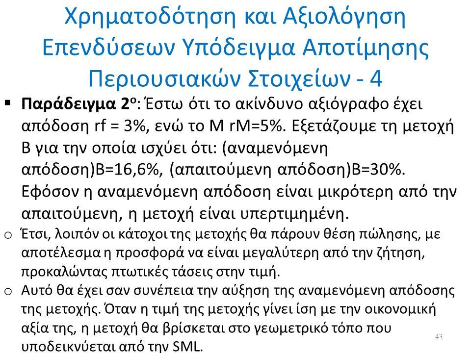 Χρηματοδότηση και Αξιολόγηση Επενδύσεων Υπόδειγμα Αποτίμησης Περιουσιακών Στοιχείων - 4  Παράδειγμα 2 ο : Έστω ότι το ακίνδυνο αξιόγραφο έχει απόδοση rf = 3%, ενώ το Μ rM=5%.