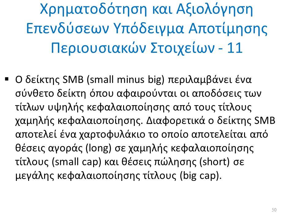 Χρηματοδότηση και Αξιολόγηση Επενδύσεων Υπόδειγμα Αποτίμησης Περιουσιακών Στοιχείων - 11  Ο δείκτης SMB (small minus big) περιλαμβάνει ένα σύνθετο δείκτη όπου αφαιρούνται οι αποδόσεις των τίτλων υψηλής κεφαλαιοποίησης από τους τίτλους χαμηλής κεφαλαιοποίησης.