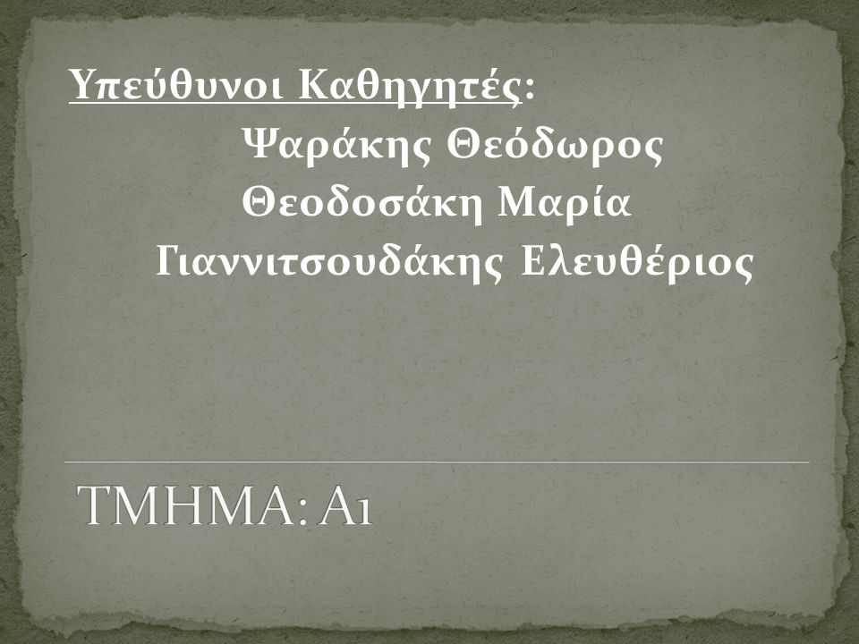 Υπεύθυνοι Καθηγητές: Ψαράκης Θεόδωρος Θεοδοσάκη Μαρία Γιαννιτσουδάκης Ελευθέριος