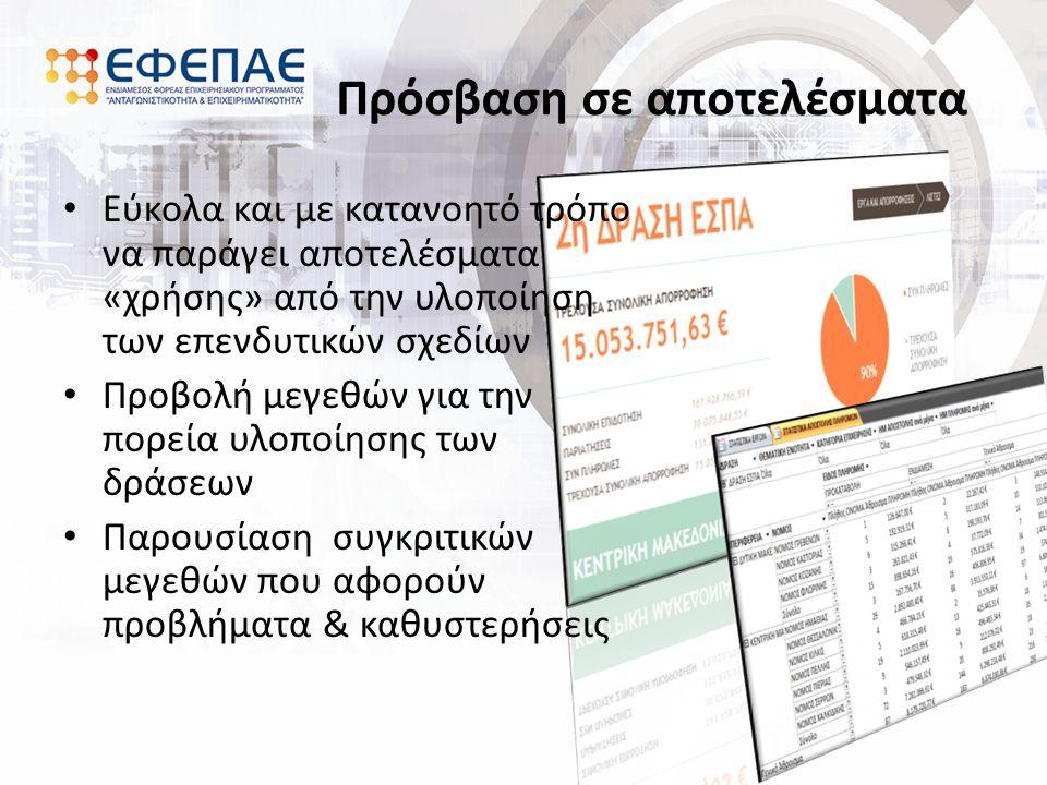 Πρόσβαση σε αποτελέσματα Εύκολα και με κατανοητό τρόπο να παράγει αποτελέσματα «χρήσης» από την υλοποίηση των επενδυτικών σχεδίων Προβολή μεγεθών για την πορεία υλοποίησης των δράσεων Παρουσίαση συγκριτικών μεγεθών που αφορούν προβλήματα & καθυστερήσεις