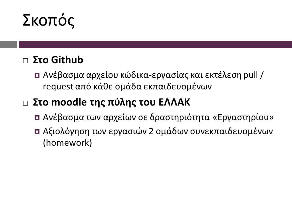 Σκοπός  Στο Github  Ανέβασμα αρχείου κώδικα-εργασίας και εκτέλεση pull / request από κάθε ομάδα εκπαιδευομένων  Στο moodle της πύλης του ΕΛΛΑΚ  Ανέβασμα των αρχείων σε δραστηριότητα «Εργαστηρίου»  Αξιολόγηση των εργασιών 2 ομάδων συνεκπαιδευομένων (homework)