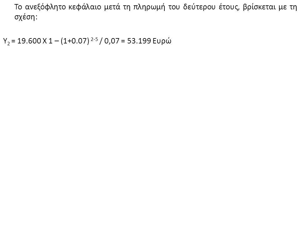 Το ανεξόφλητο κεφάλαιο μετά τη πληρωμή του δεύτερου έτους, βρίσκεται με τη σχέση: Υ 2 = 19.600 Χ 1 – (1+0.07) 2-5 / 0,07 = 53.199 Ευρώ