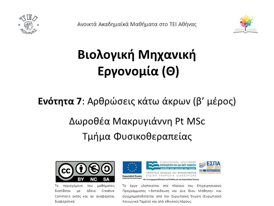 Βιολογική Μηχανική Εργονομία (Θ) Ενότητα 7: Αρθρώσεις κάτω άκρων (β' μέρος) Δωροθέα Μακρυγιάννη Pt MSc Τμήμα Φυσικοθεραπείας Ανοικτά Ακαδημαϊκά Μαθήμα