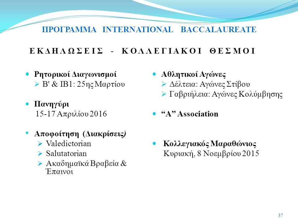 Ε Κ Δ Η Λ Ω Σ Ε Ι Σ - Κ Ο Λ Λ Ε Γ Ι Α Κ Ο Ι Θ Ε Σ Μ Ο Ι Ρητορικοί Διαγωνισμοί  Β & ΙΒ1: 25ης Μαρτίου Πανηγύρι 15-17 Απριλίου 2016 Αποφοίτηση (Διακρίσεις)  Valedictorian  Salutatorian  Ακαδημαϊκά Bραβεία & Έπαινοι Αθλητικοί Αγώνες  Δέλτεια: Αγώνες Στίβου  Γαβριήλεια: Αγώνες Κολύμβησης A Association Κολλεγιακός Μαραθώνιος Κυριακή, 8 Νοεμβρίου 2015 37 ΠΡΟΓΡΑΜΜΑ INTERNATIONAL BACCALAUREATE