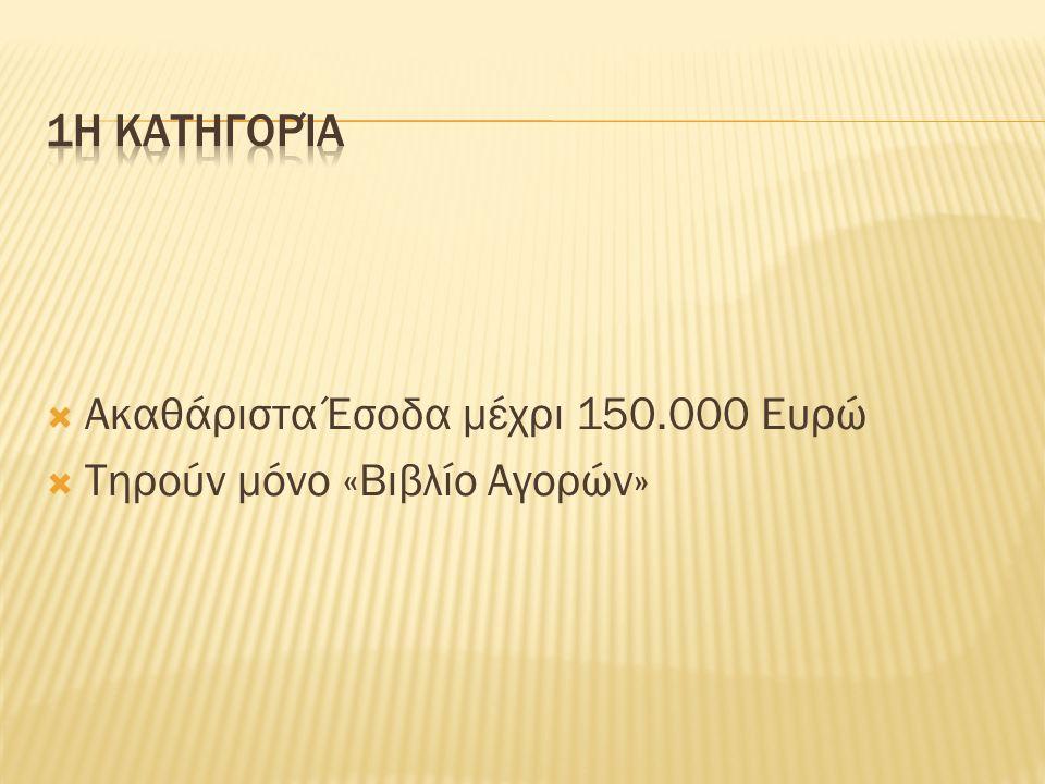  Ακαθάριστα Έσοδα μέχρι 150.000 Ευρώ  Τηρούν μόνο «Βιβλίο Αγορών»