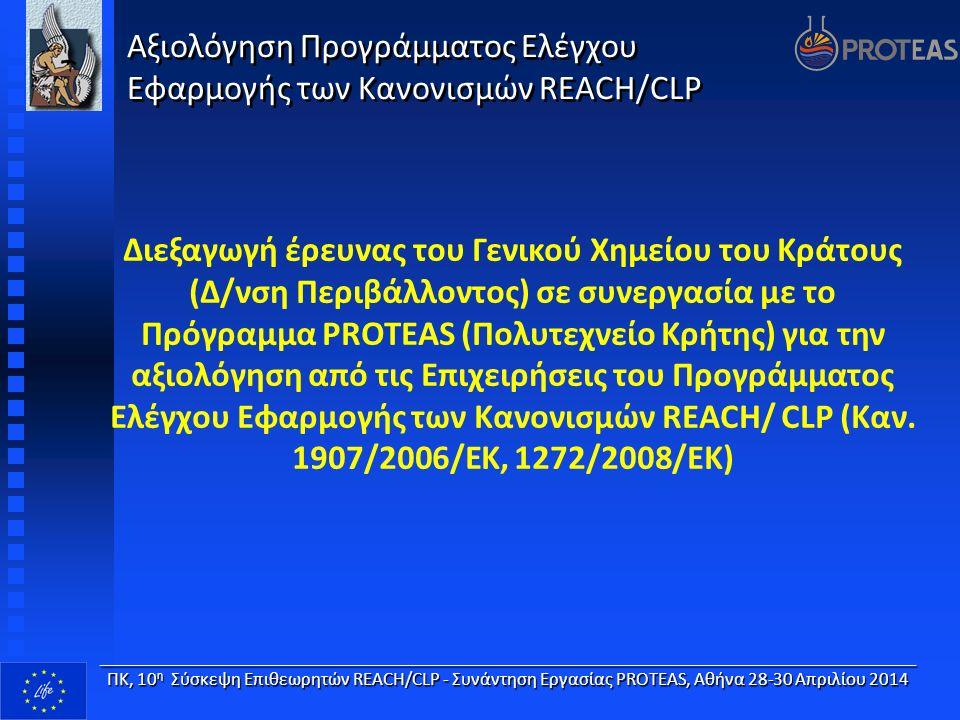 Διεξαγωγή έρευνας του Γενικού Χημείου του Κράτους (Δ/νση Περιβάλλοντος) σε συνεργασία με το Πρόγραμμα PROTEAS (Πολυτεχνείο Κρήτης) για την αξιολόγηση από τις Επιχειρήσεις του Προγράμματος Ελέγχου Εφαρμογής των Κανονισμών REACH/ CLP (Καν.