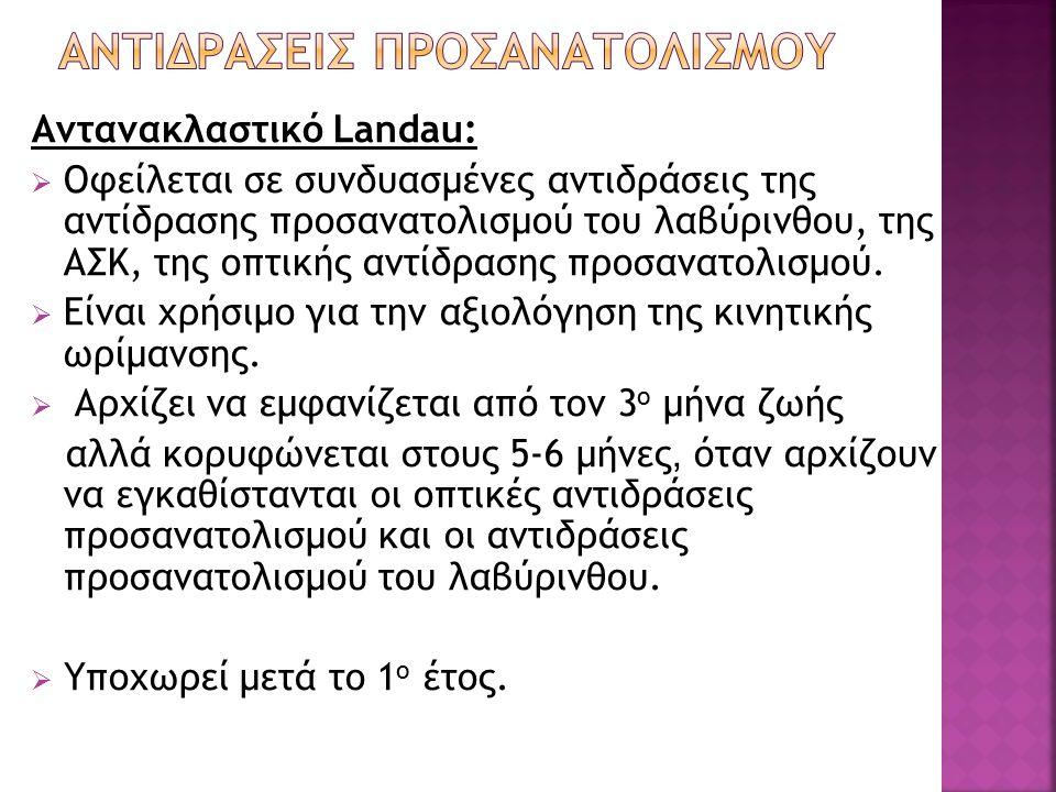 Αντανακλαστικό Landau:  Οφείλεται σε συνδυασμένες αντιδράσεις της αντίδρασης προσανατολισμού του λαβύρινθου, της ΑΣΚ, της οπτικής αντίδρασης προσανατ