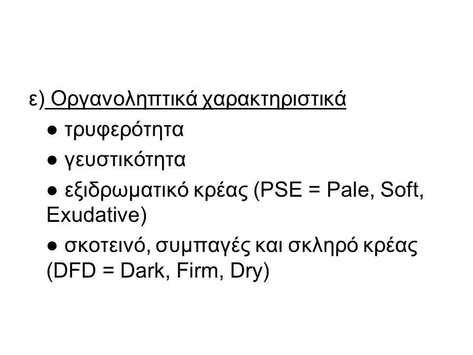 ε) Οργανοληπτικά χαρακτηριστικά ● τρυφερότητα ● γευστικότητα ● εξιδρωματικό κρέας (PSE = Pale, Soft, Exudative) ● σκοτεινό, συμπαγές και σκληρό κρέας (DFD = Dark, Firm, Dry)
