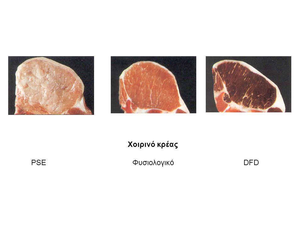 Χοιρινό κρέας PSE Φυσιολογικό DFD