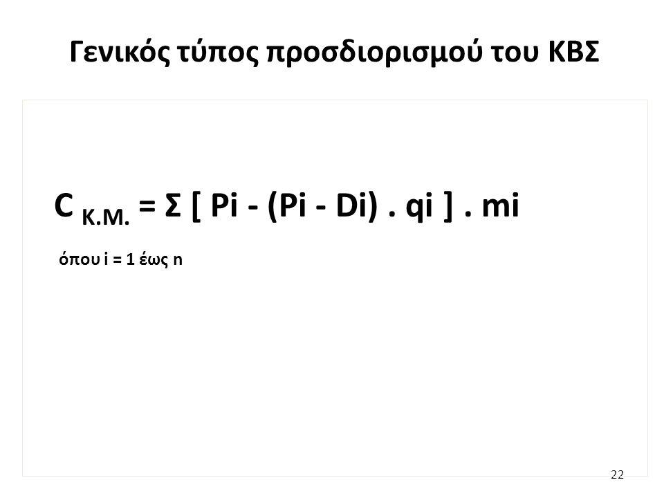 Γενικός τύπος προσδιορισμού του ΚΒΣ 22 C K.M. = Σ [ Pi - (Pi - Di). qi ]. mi όπου i = 1 έως n
