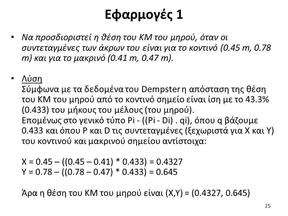 Εφαρμογές 1 25 Να προσδιοριστεί η θέση του ΚΜ του μηρού, όταν οι συντεταγμένες των άκρων του είναι για το κοντινό (0.45 m, 0.78 m) και για το μακρινό (0.41 m, 0.47 m).