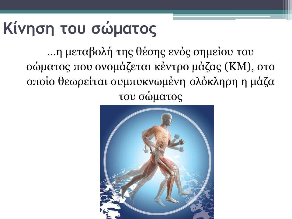 Κίνηση του σώματος...η μεταβολή της θέσης ενός σημείου του σώματος που ονομάζεται κέντρο μάζας (ΚΜ), στο οποίο θεωρείται συμπυκνωμένη ολόκληρη η μάζα του σώματος